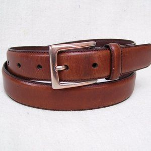 Plain Brown Leather w/Solid Nickle Brass Buckle